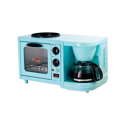 Blue Multifunction Mini Breakfast Station Toaster Oven Coffee Maker Hot Griddle
