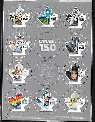 Canada 2017 150 years anniversary celebration pane of 10 MNH stamps