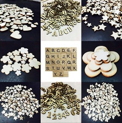 100Pcs Rustic Wooden Wood Love Heart Letter Wedding Table Scatter Crafts Gift UK