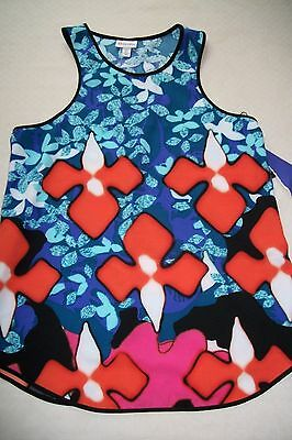 30e099dacc239 NEW Peter Pilotto Target Floral Polyester Tank Top Womens Size S XS Bold  Color!