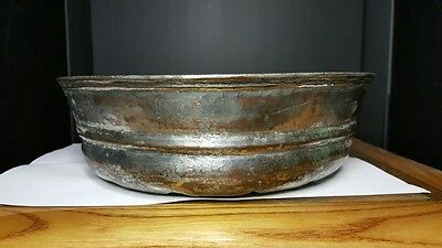 Omphalo Ritual Bowl 17th or 18th C. Safavid Tinned Bronze/Copper Islamic