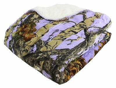 "LAVENDER CAMO WOODS Camouflage Sherpa Throw Light Weight Soft Blanket 50"" x 70"""