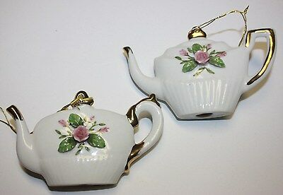 Vintage porcelain set of 2 Kettles kettle Christmas tree ornament rose