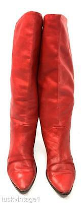 VINTAGE 80s RED soft LEATHER tall slouch fold over FLAT soled Italian BOOTS 40 9