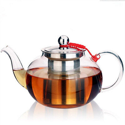 Clear Glass TEA POT Infusion Teapot with Stainless Steel Infuser and Lid 0.4L~1L