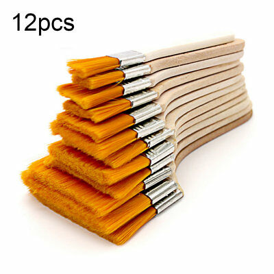 12pcs/set Wooden Oil Painting Brush Oil Paint Brush Nylon Hair Art Supply BU