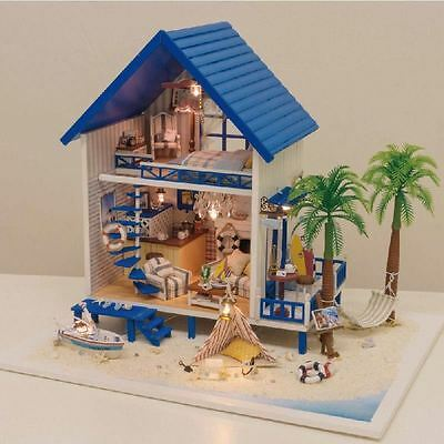 Wooden Dollhouse Miniature DIY Dolls House Kit With Furniture+Music--Angean Sea