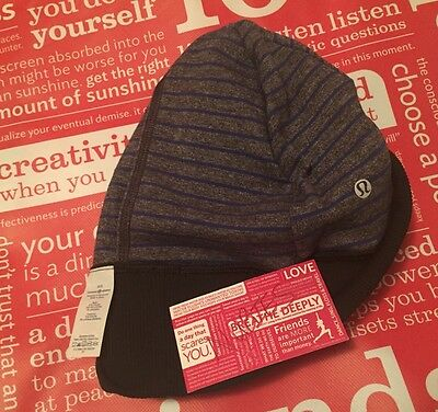 NWT Lululemon Rulu Reversible Run With Me Toque Parallel Stripe Pigment Blue Blk