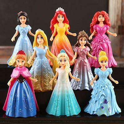8pcs Set  Cute Princess Action Figures Changed Dress Doll Kids Boy Girl Toy Gift