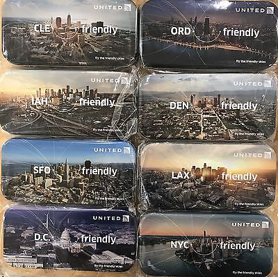 NEW SEALED United Airlines Domestic Cities Tin Collectible Amenity Kit, Set of 8