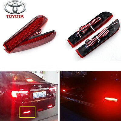 Toyota Red LED Rear Bumper Reflector Tail Brake Stop Light Avensis Previa Estima
