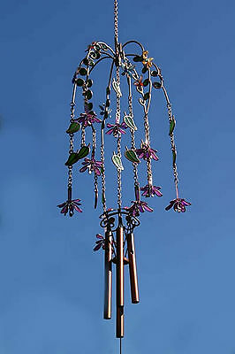 Fuchsia Floral & Butterfly Large Garden Wind Chime