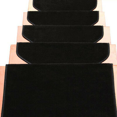 13pcs Stair Treads Mat Pat Non Slip Step Carpet Adhesive Black for Home Hotel