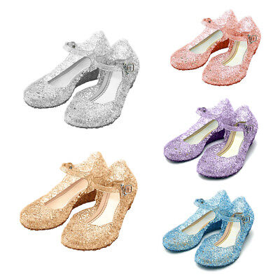 AU Frozen Anna Elsa Slip On Sandals Girls Cosplay Princess Party Jelly Shoes