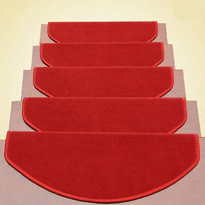13pcs Red Stair Tread Mats Durable Carpet Non Slip Step Rug Home Hotel Decor