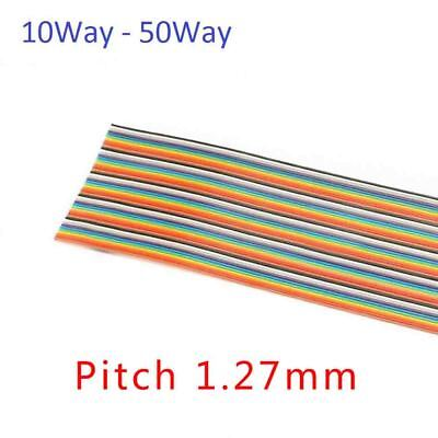 10Way - 50Way Dupont Wire Flat Flexible Rainbow Ribbon PCB Cable Pitch 1.27MM
