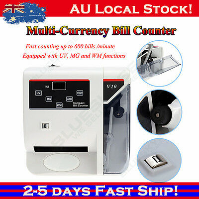 V10 Bank Note Multi-currency Bill Counter UV & MG Cash Fast Counting Sydney!