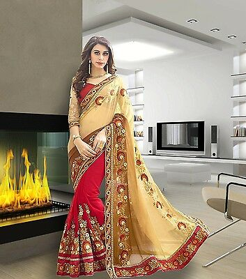 New Bollywood Saree Indian Ethnic Pakistani Designer Saree Wedding Sari