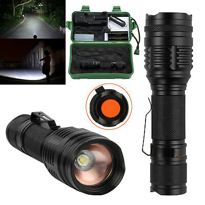5000LM CREE XM-L T6 7 Modes Zoomable 18650 Flashlight Rechargeable Clip Torch UK
