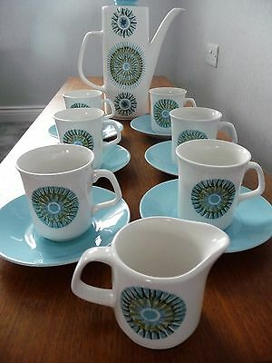 """Retro 1960's J and G Meakin """"Aztec"""" coffee set - Alan Rogers, 1964"""