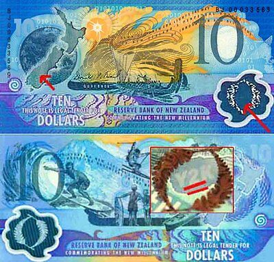 New Zealand Y2K $10 Pair Millennium Polymer Banknotes Black Serial Issues p190a
