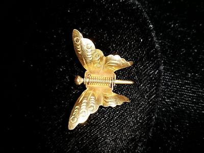 14kt Gold Butterfly Hairclip Pendant Brooch Pin MARSH'S Wings on Spring Vintage