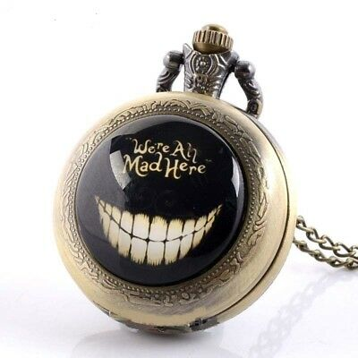 Alice in Wonderland We're All Mad Here Mini Bronze Pocket Watch Necklace Pendant