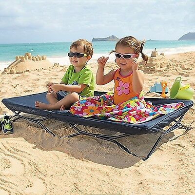 Regalo Cot Portable Sleeping Kids Toddler Bed Camping Travel Steel Portable Navy