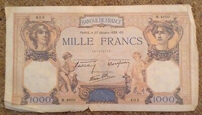 France Banknote. 1000 Francs. Dated 1938