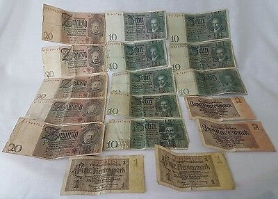 Collection of Old Reichsmark Rentenmark Bank Notes Money 1929 1937 20 10 2 1