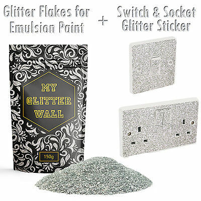Crystal Glitter paint for emulsion wall Silver glitter wallpaper + Socket 150G