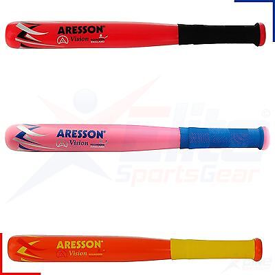 Aresson Vision Wooden Rounders Baseball Bat Non Slip Grip Orange, Pink or Red
