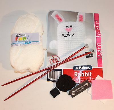 ✨ Knitting For  Beginners Rabbit By Patons ~ Animals White Pink Yarn Needles ✨