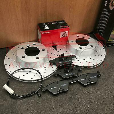 BMW E90 E91 E92 320 320D 325 FRONT DRILLED BRAKE DISCS BREMBO PADS SENSORS 300mm