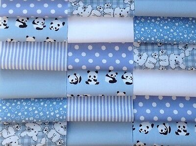 "Fabric patchwork squares 30 x 4"" 10cm cotton quilting craft baby boy blue  5L"