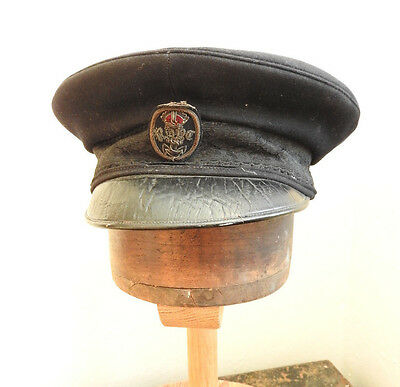 Military Rare WW1 Royal Navy RN Officers Peaked Cap Hat With Bullion Badge (4713