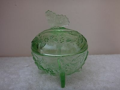 Vintage Bagley Sowerby Green Glass Butterfly Lidded Trinket Pot Uranium Glass ?