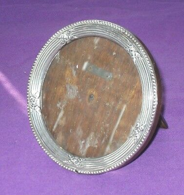 Antique Edwardian 1905 Sterling Silver Easel Round Photo Picture Frame