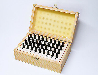 Set of alphabetical and number punches in wooden box 1.5mm
