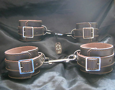 Chocolate Truffle Real Leather Fetish/Bondage Quality Ankle & Wrist Restraints