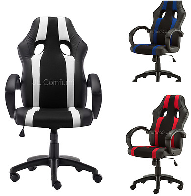Adjustable Computer Racing Sports Car Seat Chair Gaming Leather PU Desk Swivel