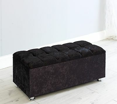 Monaco Crush Velvet Diamante Ottoman Box Toy Box Bench Stool Seat Storage Box