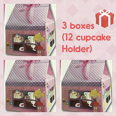 3 x DEEP CUPCAKE BOXES + INSERTS HOLDERS 12 Cake/Fairy/Muffin/Tray/Gift/House