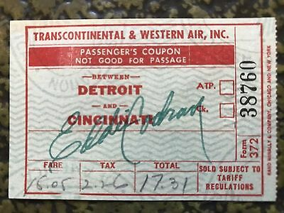 Eddie Cochran -Original  Signed Twa Ticket -