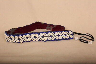 """Colourful BLUE Beaded Cowrie Shell Belt 27.5 """"+12""""ties. Summer Fashion /Festival"""