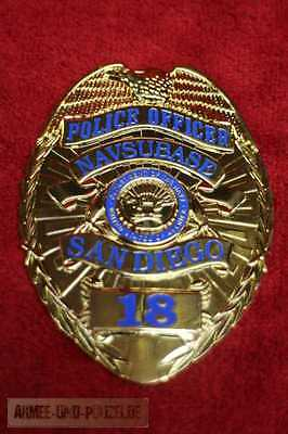 Historisches Police Officer Navsubase San Diego US Badge gestempelt
