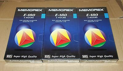 MEMOREX VHS E180 3 Hour Blank Video Cassette Tapes x 3 Still Sealed