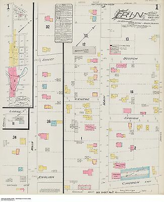 ERIN ( Wellington County ) ONTARIO TWO Street Maps 1907 Scotch + Spring + Church