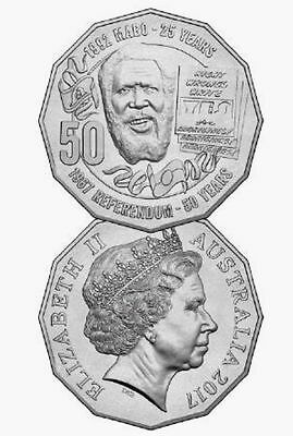 1x 2017 UNC 50c fifty cent Eddie Mabo Pride and the Pass Coin in 2x2 Folder