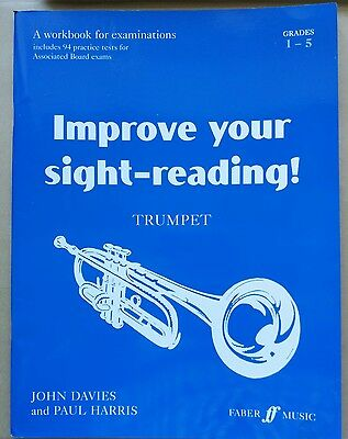Improve Your Sight Reading Trumpet Tutor Book grades 1 to 5 sheet music VGC
